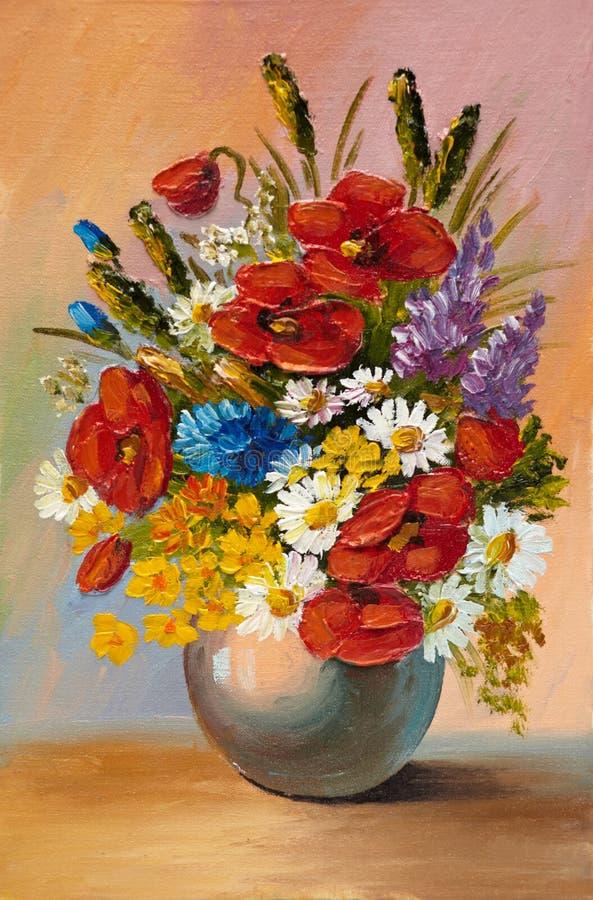 La pintura al óleo de la primavera florece en un florero en lona Extracto stock de ilustración