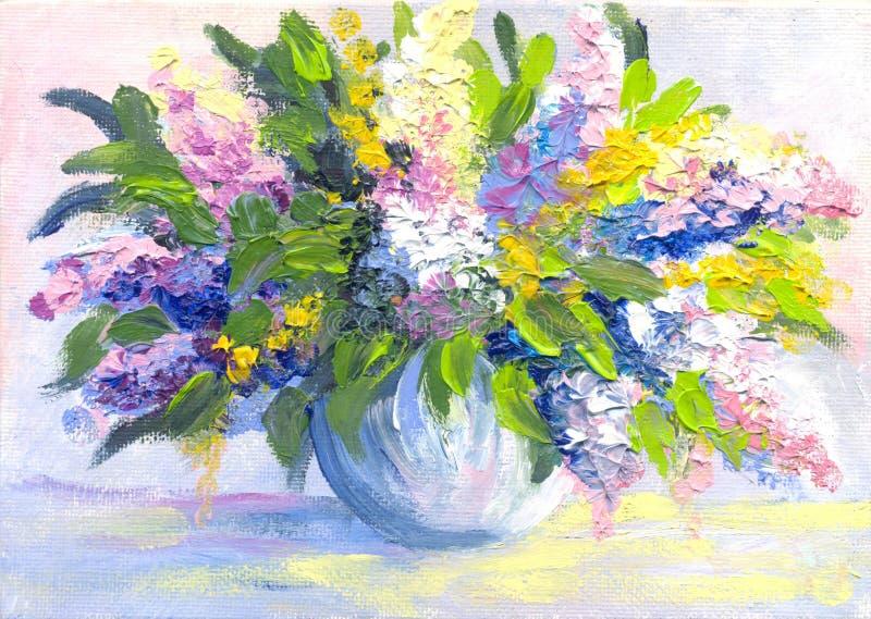 La pintura al óleo florece la lila imágenes de archivo libres de regalías