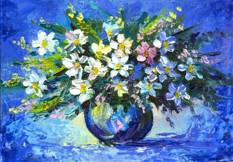 La pintura al óleo florece la manzanilla imagenes de archivo