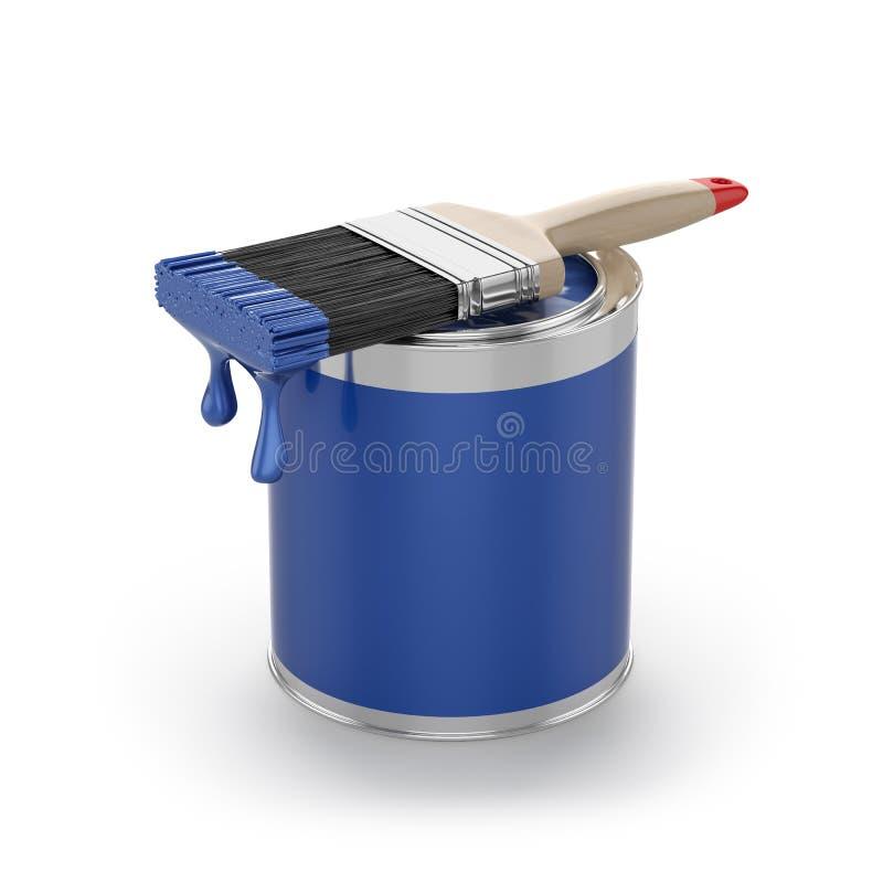 La pintura azul en abierto puede con el cepillo Concepto de la renovación stock de ilustración