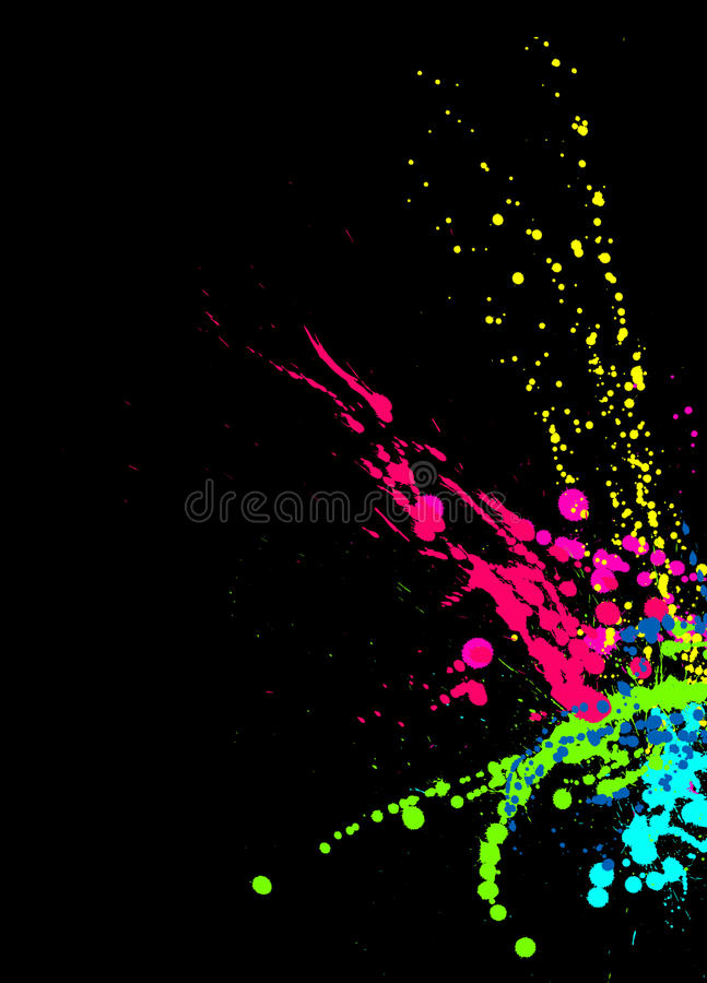 La pintura brillante salpica en fondo negro ilustración del vector