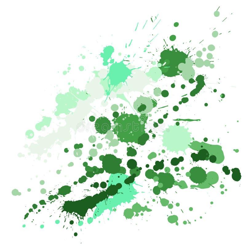 La pintura de la acuarela salpica el modelo, mancha el contexto líquido de los puntos de las manchas stock de ilustración