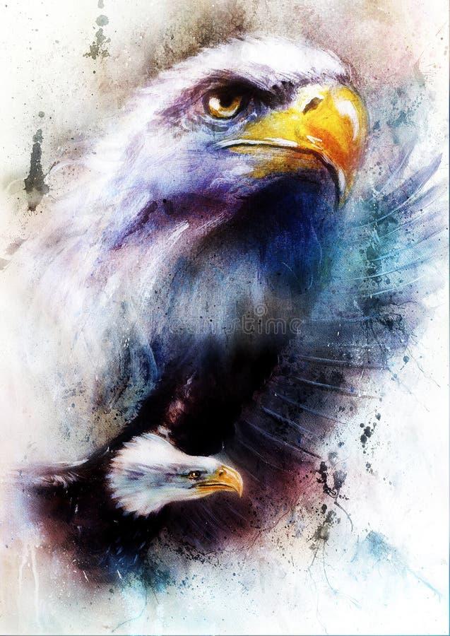 La pintura de dos águilas una que estiran su negro se va volando para volar, en fondo abstracto del color stock de ilustración