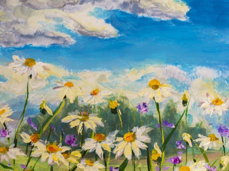 La pintura de las margaritas blancas florece, las flores hermosas del campo en lona Ilustraciones de Impasto del cuchillo de pale imagen de archivo