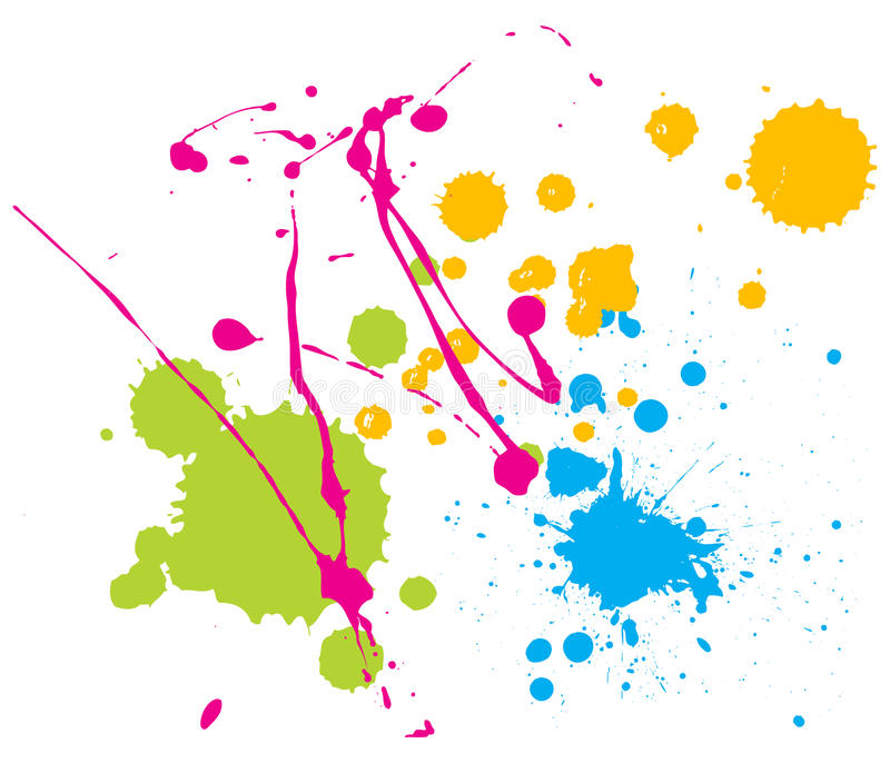 La pintura del color salpica stock de ilustración