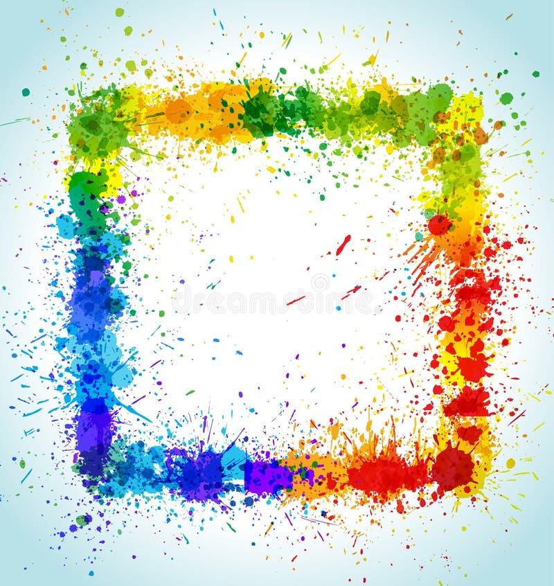 La pintura del color salpica el fondo cuadrado ilustración del vector
