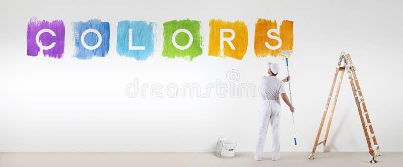 La pintura del hombre del pintor colorea el texto aislado en la pared blanca en blanco fotos de archivo libres de regalías