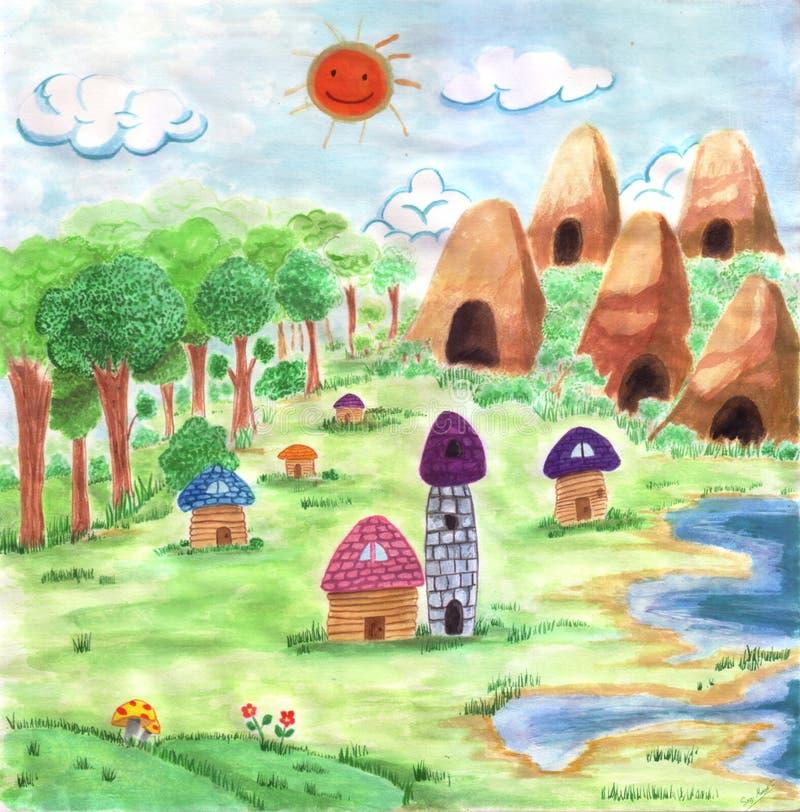 La pintura del valle de risa stock de ilustración