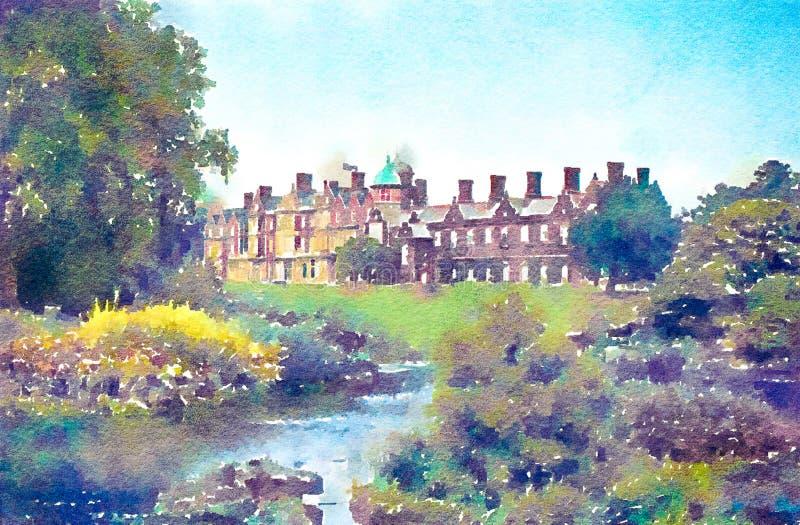 La pintura del Watercolour de la casa de Sandringham cultiva un huerto y lago ilustración del vector