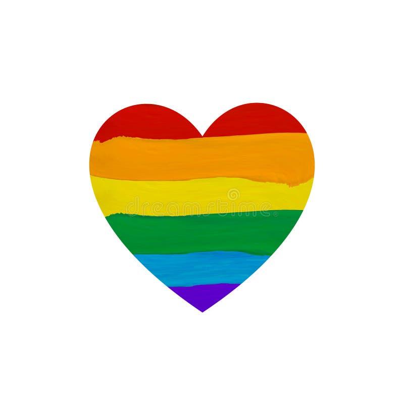La pintura mancha el icono de la forma del corazón de la bandera, arco iris coloreado, ejemplo del VECTOR, bandera del lgbt ilustración del vector