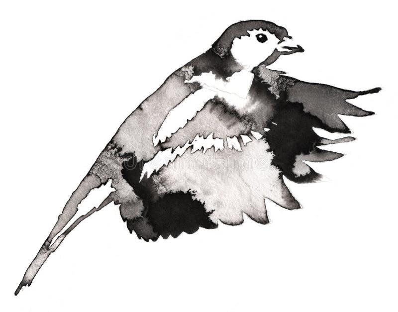 La pintura monocromática blanco y negro con agua y la tinta dibujan el ejemplo del pájaro del tit ilustración del vector