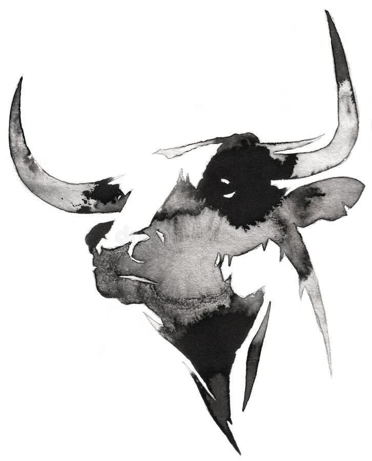 La pintura monocromática blanco y negro con agua y la tinta dibujan el ejemplo del toro libre illustration