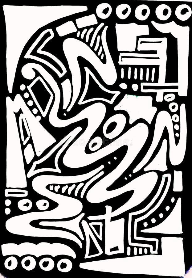 La pintura tribal africana inspiró el dibujo abstracto de la mano imágenes de archivo libres de regalías