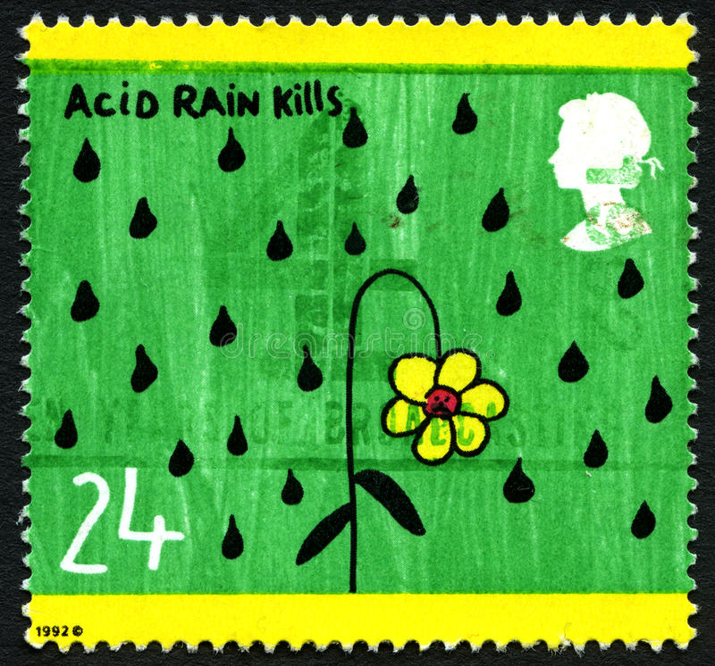 La pioggia acida uccide il francobollo BRITANNICO fotografia stock