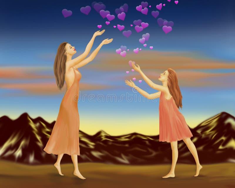 La pioggia di amore da cielo è come la benedizione di un dio illustrazione vettoriale