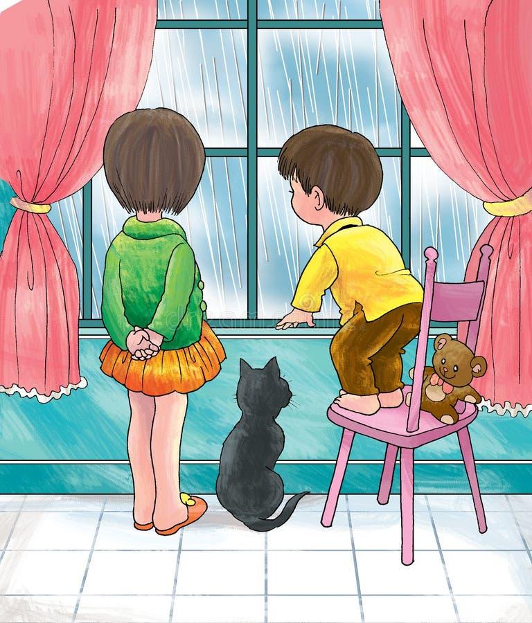 La pioggia non significa gioco all'esterno illustrazione di stock