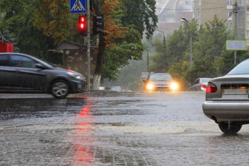 La pioggia persistente sul marciapiede e sulla strada asfaltata è illuminata da un semaforo rosso immagine stock libera da diritti