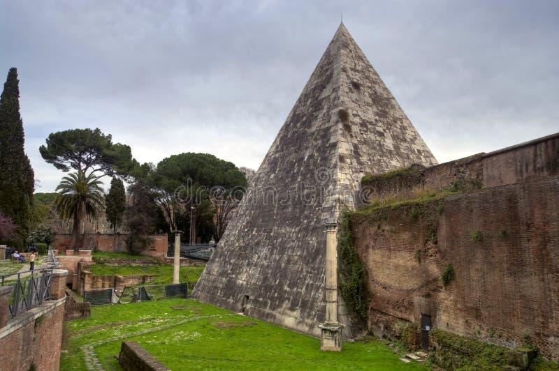 La pirámide de Cestius, Roma foto de archivo libre de regalías