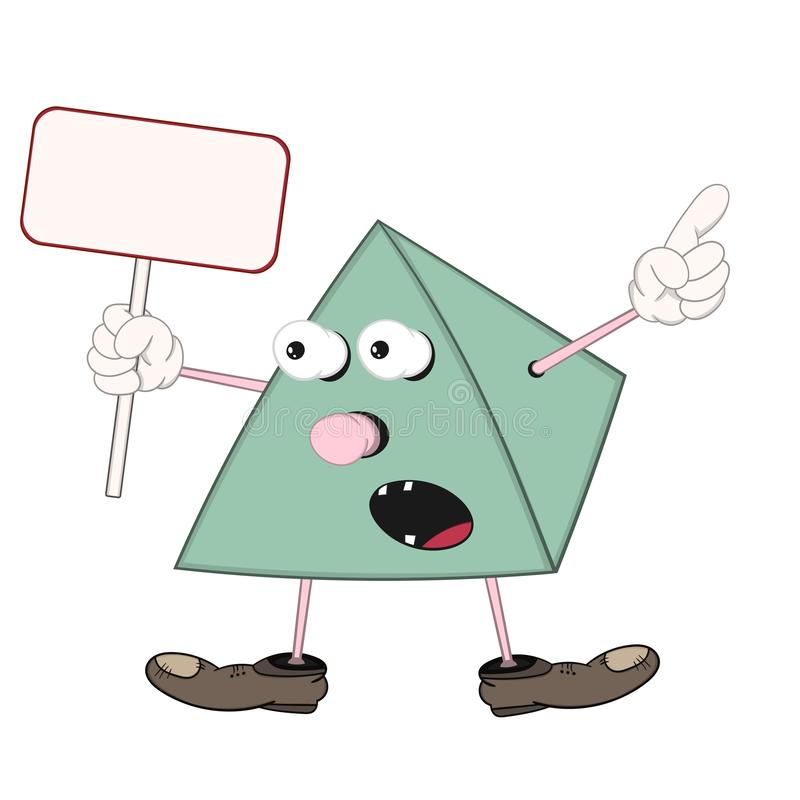 La piramide verde divertente del fumetto in scarpe tiene in sua mano una compressa rettangolare, le grida ed i punti ad un oggett illustrazione di stock