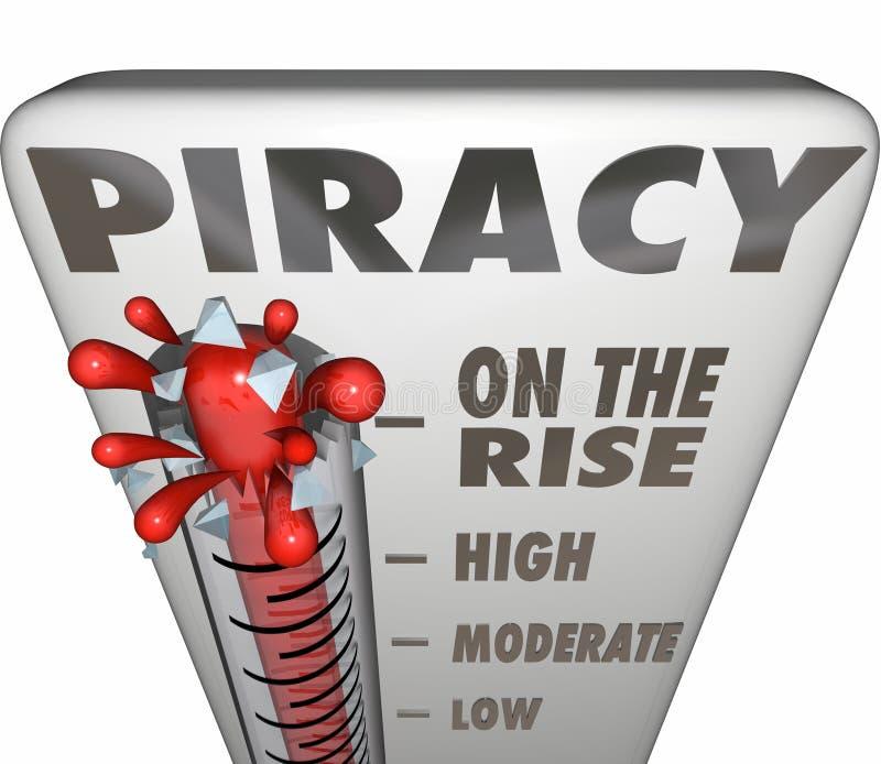 La piraterie sur le thermomètre de hausse mesurant le partage de fichiers illégal font illustration stock