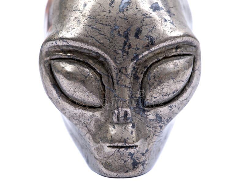 La pirite della pietra preziosa dal Brasile ha scolpito Crystal Star Being, cranio straniero femminile, immagini stock