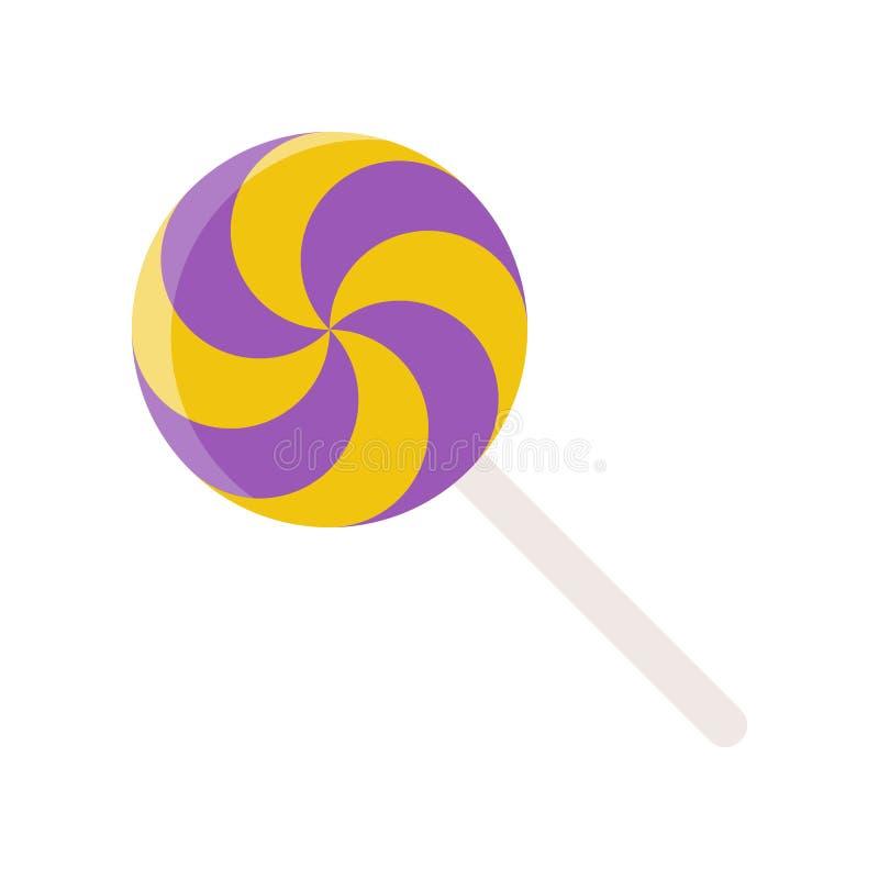 La piruleta, caramelo Halloween de los dulces relacionó el icono en diseño plano libre illustration