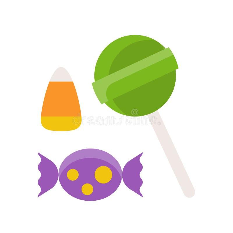La piruleta, caramelo Halloween de los dulces relacionó el icono en diseño plano ilustración del vector