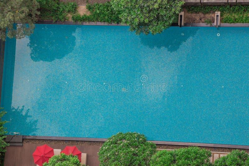 La piscina con los árboles y los paraguas de un top abajo ven del tejado o del alto piso Los árboles y las reflexiones hacen para foto de archivo libre de regalías