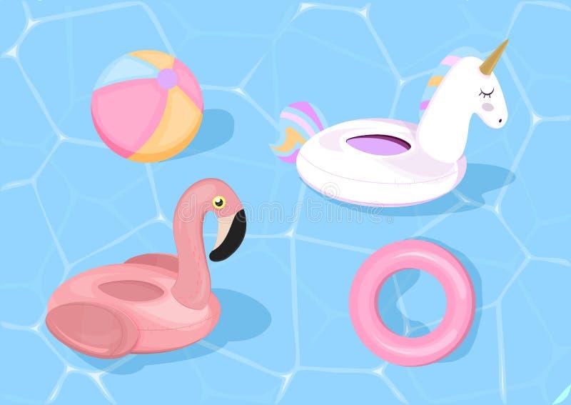 La piscina divertida flota con el flamenco y el unicornio Ilustración del vector Juguetes de la piscina en fondo azul del mar stock de ilustración