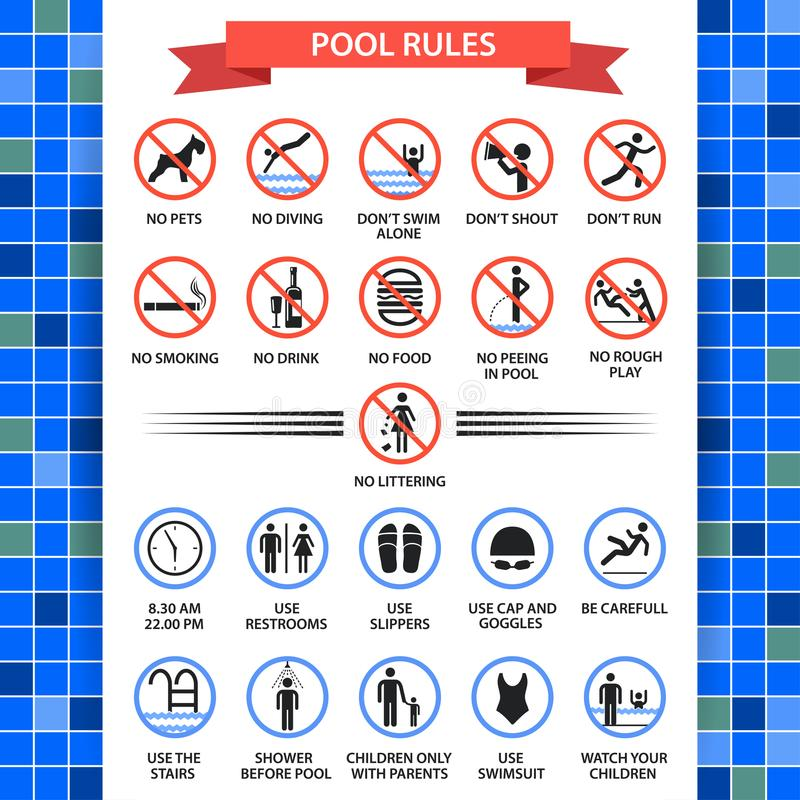 La piscina gobierna el cartel libre illustration