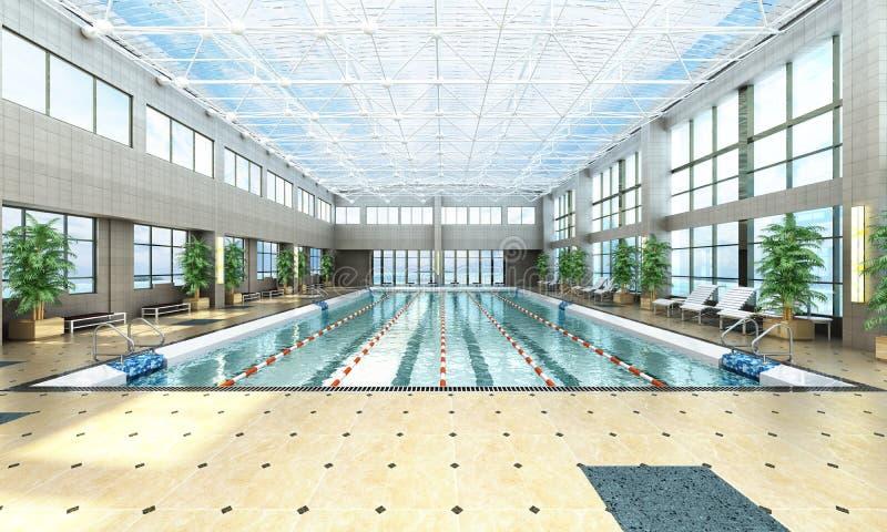 La piscine 3d intérieur rendent l'image illustration stock