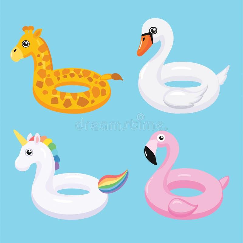La piscine gonflable de flamant, de licorne, de cygne et de girafe flotte Illustration de vecteur illustration stock