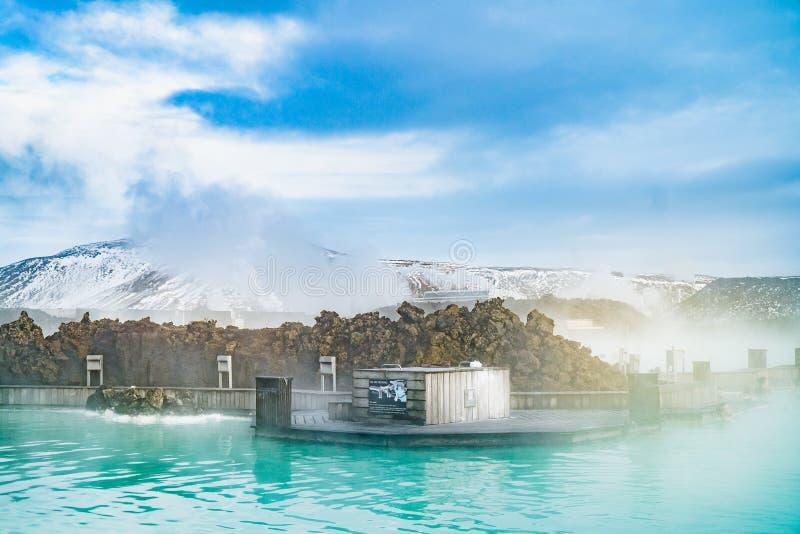 La piscine thermique de la lagune bleue, Islande photos libres de droits