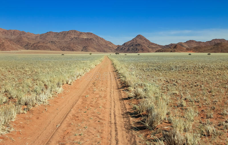 La pista recta del camino de tierra del desierto pasa el prado hacia las montañas fotografía de archivo