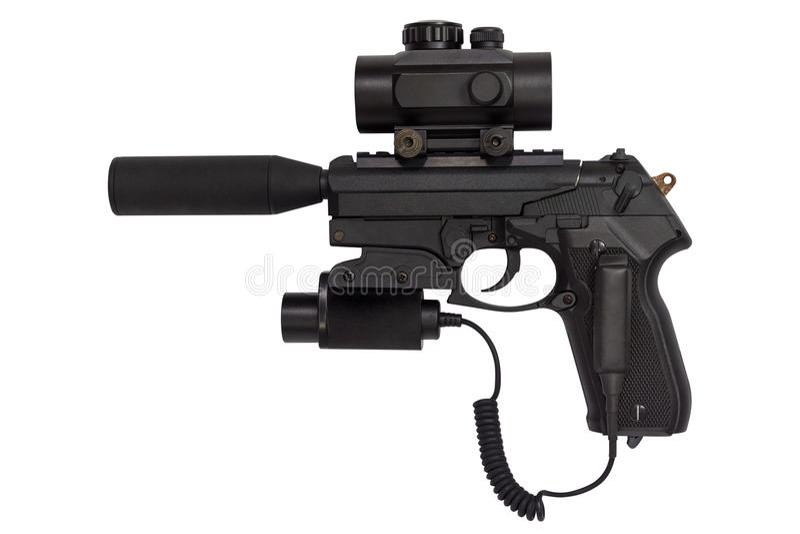 La pistola con un silenziatore e un laser avvistano isolato su fondo bianco immagini stock libere da diritti