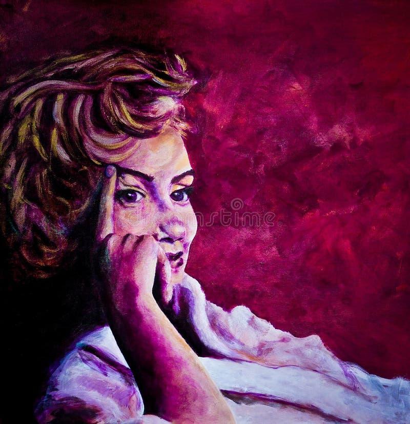 La pittura acrilica di signora degli anni 50 nell'accappatoio ha ispirato dalle immagini di Marilyn Monroe immagine stock
