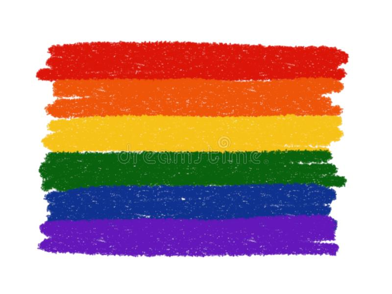 La pittura astratta dell'arcobaleno ha isolato Bandiera di orgoglio di LGBT su fondo bianco illustrazione vettoriale