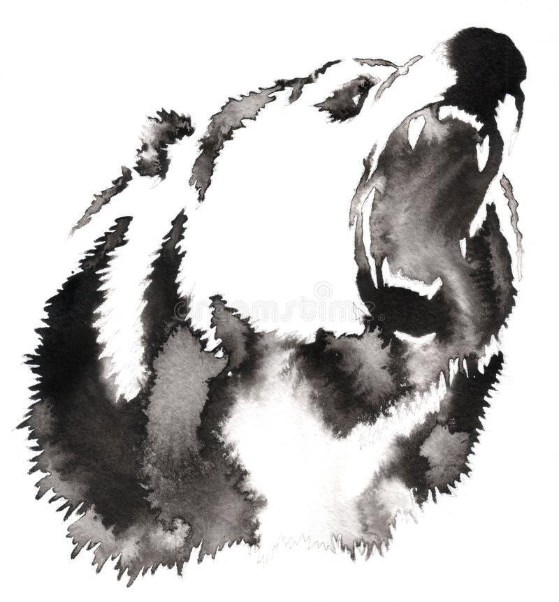 La pittura in bianco e nero con il tiraggio dell'inchiostro e dell'acqua sopporta l'illustrazione illustrazione di stock