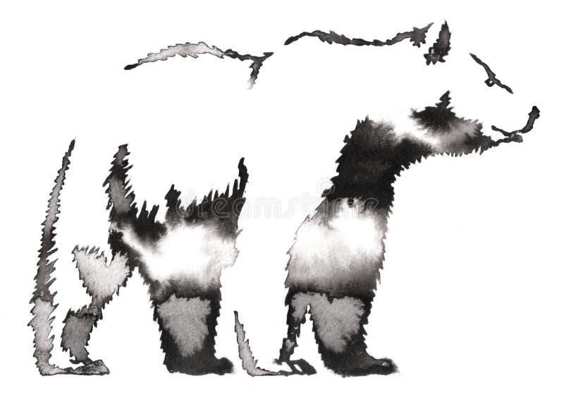 La pittura in bianco e nero con il tiraggio dell'inchiostro e dell'acqua sopporta l'illustrazione royalty illustrazione gratis