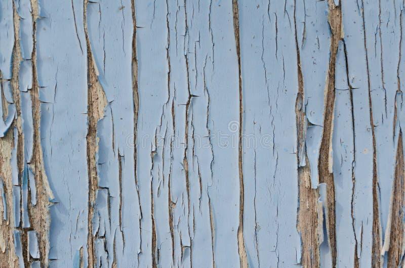 La pittura blu si è fenduta sulla vecchia parete di legno fotografia stock libera da diritti