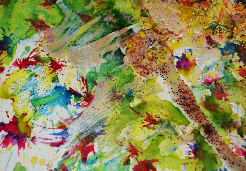 La pittura cerea scintillante di verde rosa blu dorato, contrasto modella il fondo nelle tonalità pastelli immagini stock