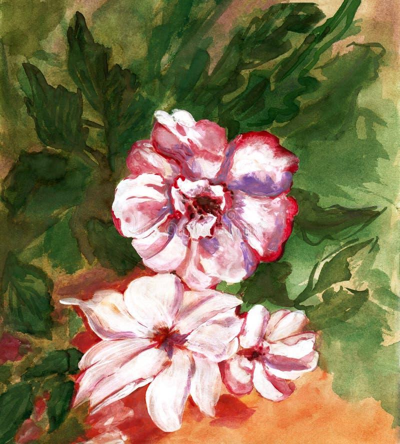 La pittura colora le rose del mazzo illustrazione vettoriale