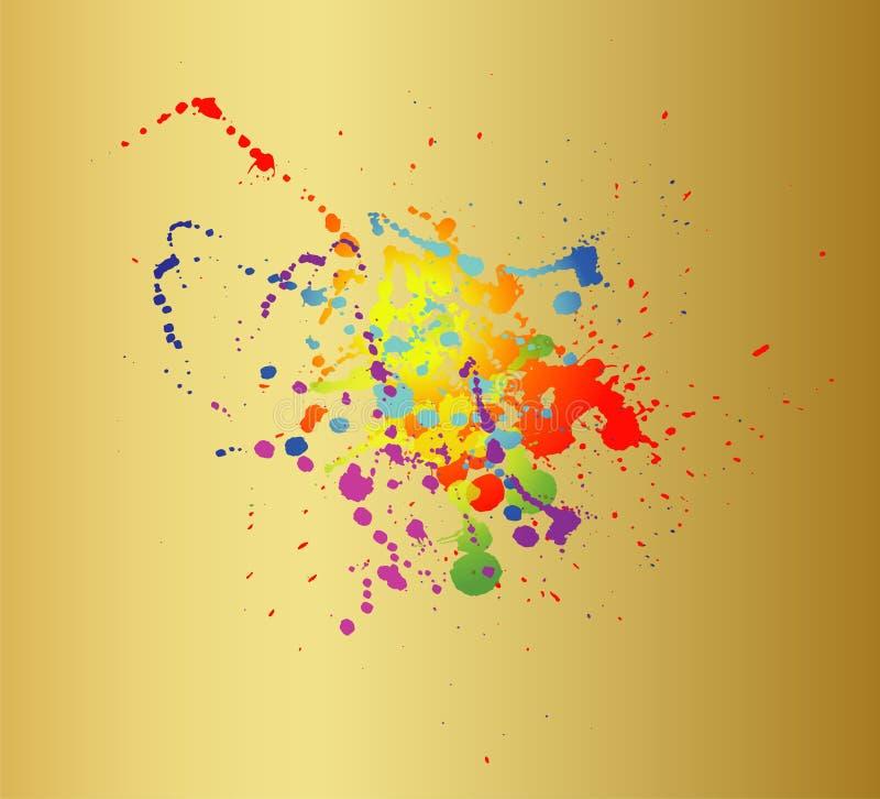 La pittura colorata spruzza isolato sul fondo dell'oro illustrazione vettoriale