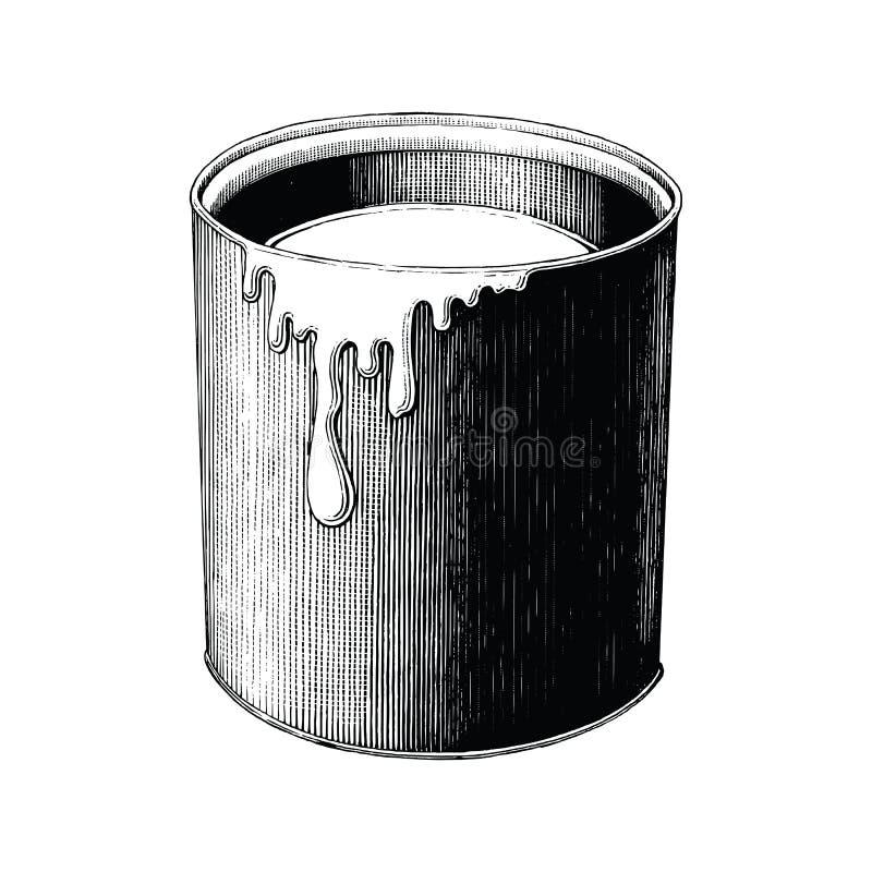 La pittura d'annata può passare il clipart del disegno isolata su backgr bianco illustrazione vettoriale
