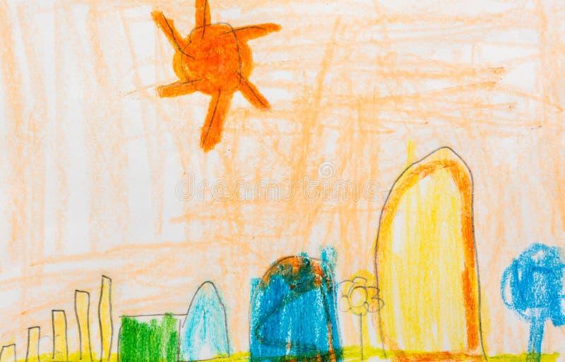 La pittura del bambino dell'albero della casa ed il sole immaginano fotografia stock libera da diritti