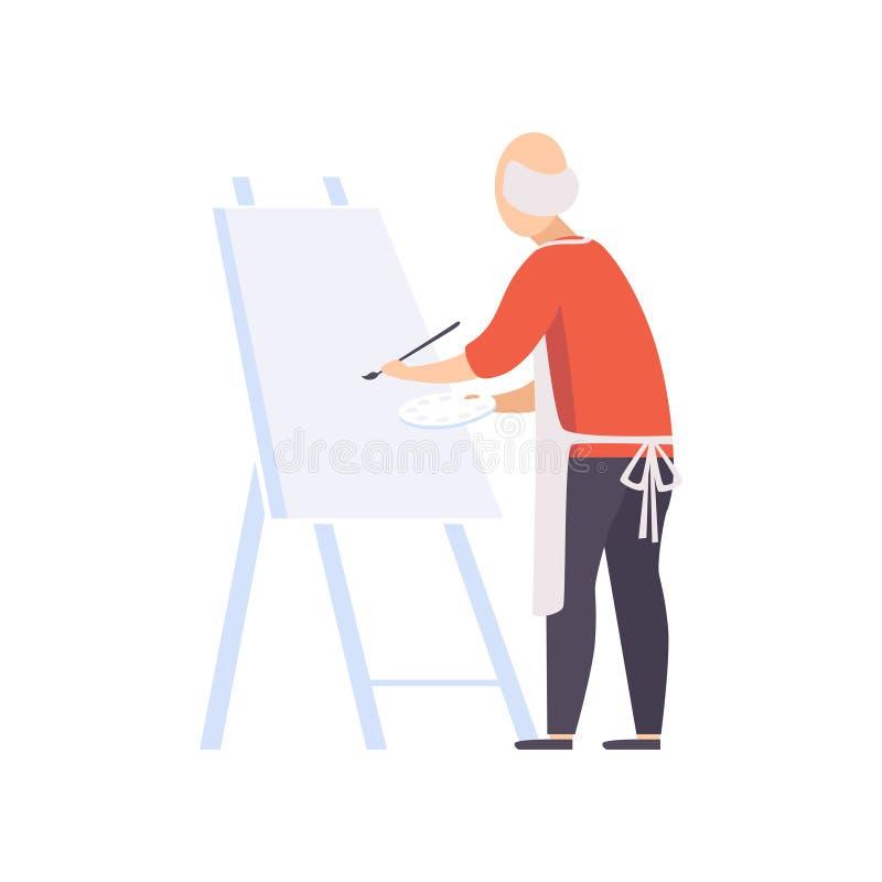 La pittura del carattere dell'uomo senior sulla tela, anziani che conducono un concetto sociale di stile di vita attivo vector l' royalty illustrazione gratis