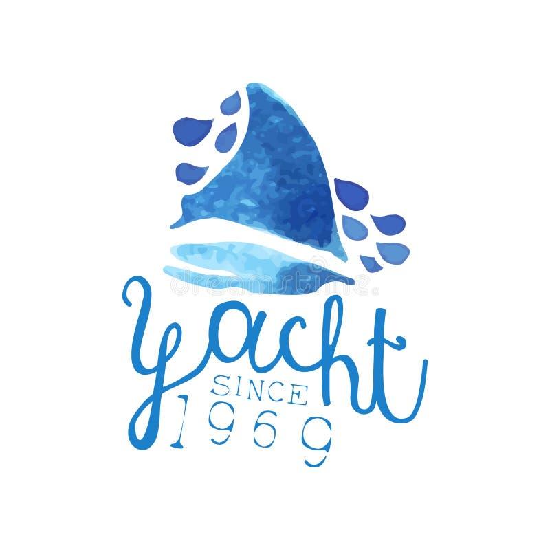 La pittura dell'acquerello della barca a vela sul mare blu ondeggia Progettazione originale per l'emblema dell'yacht club, logo d illustrazione di stock