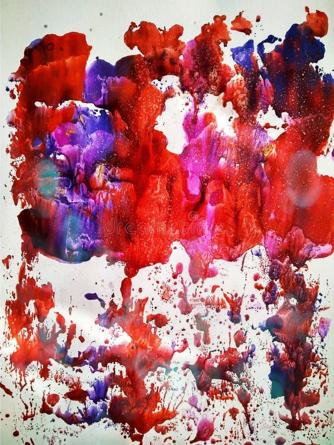 La pittura dell'acquerello di colore di struttura stampa e spruzza fotografie stock libere da diritti