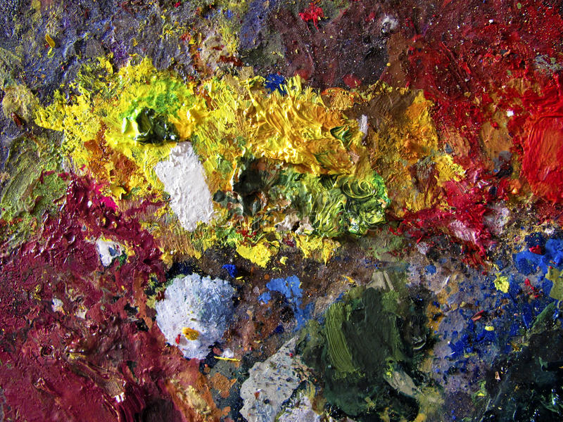La pittura dell'arcobaleno colora l'artista Palette fotografie stock