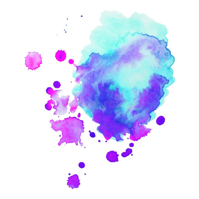 La pittura della mano di astrattismo ha isolato la macchia dell'acquerello su fondo bianco Insegna dell'acquerello royalty illustrazione gratis